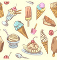 ice cream hand drawn seamless background vector image vector image