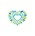 leaf and heart icon design template isolated vector image