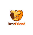 love heart dog hug cat logo icon template vector image vector image