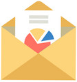 opened yellow envelope with document and color vector image