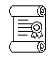 pixelated diploma game icon vector image vector image