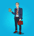 pop art happy businessman with stack of money vector image vector image