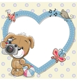 Puppy with heart frame vector image vector image