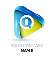 realistic letter q logo colorful triangle vector image vector image
