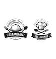 restaurant logo or label emblems for menu design vector image vector image