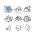 set crystals and minerals simple linear vector image vector image
