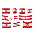 set french polynesia realistic flags banners vector image vector image