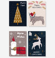 set isolated christmas cards part 2 vector image vector image