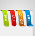 Set of colored paper web tags vector image vector image
