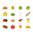 set of meat fruit nut and vegetables food icon vector image
