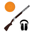 Skeet rifle headphones for shooting and clay disk vector image vector image