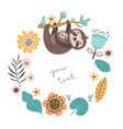 sloths mom and baby vector image vector image
