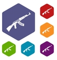 Submachine gun icons set vector image vector image
