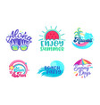 summer beach holiday tropical poster design set vector image