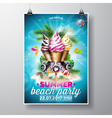 Summer Beach Party Flyer Design with ice creams vector image
