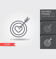 target in form hearts and arrow line icon vector image vector image