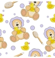 Teddy bear bath time seamless pattern vector image vector image