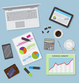 top view of office desk background including vector image vector image