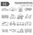 Transportation icon set Thin line design vector image vector image