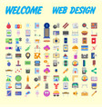 universal set of social technical household icons vector image