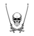 vintage monochrome skull with vector image vector image