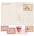 Wedding Invitation - Vintage Postcard with Postage vector image vector image