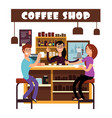 woman and man meeting in coffee shop vector image