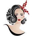 women short hair style icon logo women on white vector image