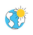 world planet with sun vector image