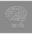 white outline brain with shadow vector image
