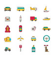 transportation icon set flat vector image