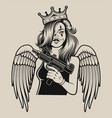 a girl with a gun in tattoo chicano style vector image vector image