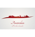Amsterdam skyline in red vector image vector image