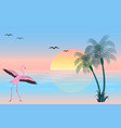 at sunset flamingo on lake scene vector image vector image