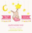 baby girl kangaroo sleeping on a star baby shower vector image