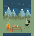 barbecue picnic in the mountains at night green vector image vector image