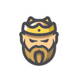 bearded king with a crown icon cartoon vector image vector image