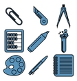 Black school goods linear icons Part 2 vector image