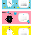 Cat horizontal calendar 2017 Cute funny cartoon vector image vector image