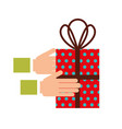 christmas hand holding gift box celebration vector image