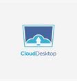 cloud computer screen desktop logo icon template vector image vector image