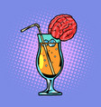 cocktail with brain drink with straw and ice vector image vector image