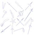 cold steel weapons simple outline icons eps10 vector image