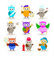 collection cartoon owls of different professions vector image vector image