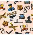 Color hand drawn police pattern - gun car crime vector image vector image