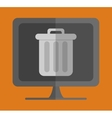 computer with trash can on screen icon image vector image vector image