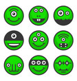 cute alien monsters set green avatar icons vector image