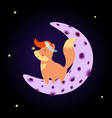 cute fox in flower wreath stand on moon night sky vector image