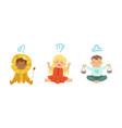 cute little kids wearing as zodiac signs set leo vector image