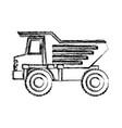 dump truck flat icon monochrome blurred silhouette vector image vector image